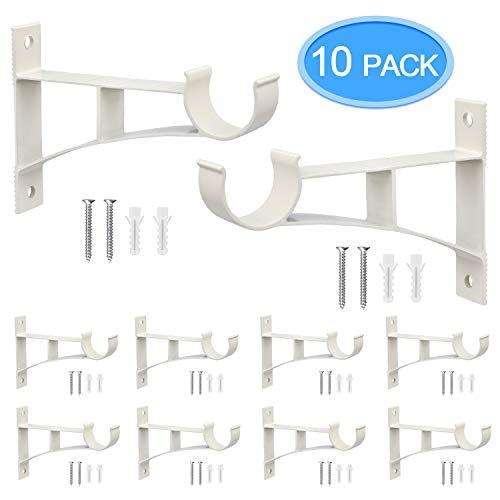 MENOLY 5 Pairs 10 Pcs Rod Brackets for Curtain Rod Holders for Curtain Rod Support for Curtain Single Aluminum Alloy Drapery Rod Bracket for Home Decoration White