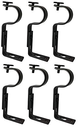 TEJATAN Adjustable Curtain Rod Brackets - Black Set of 6 Also Known as - Curtain Rod HolderBracket for Drapery RodWindow Drapery Rod Bracket Set for DraperiesAdjustable Curtain Rod Brackets