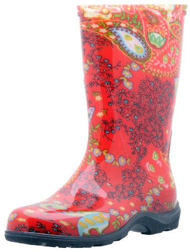 Sloggers  Womens Rain and Garden Boot with All-Day-Comfort Insole Paisley Red - Wos size 9 - Style 5004RD09