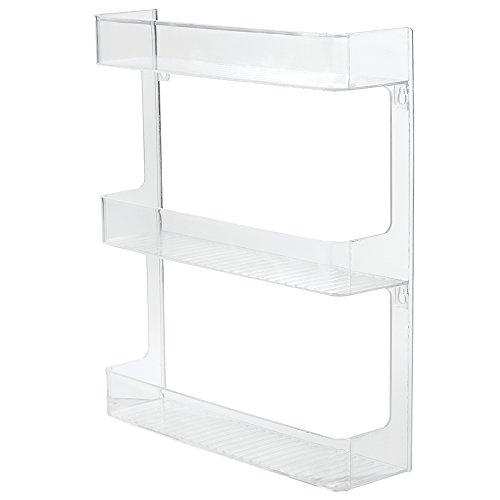 InterDesign Linus Wall Mount Spice Organizer Rack for Kitchen Storage - 3-Tier Clear