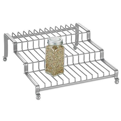 InterDesign York Lyra Spice Rack Organizer for Kitchen Pantry Cabinet Countertops - Silver
