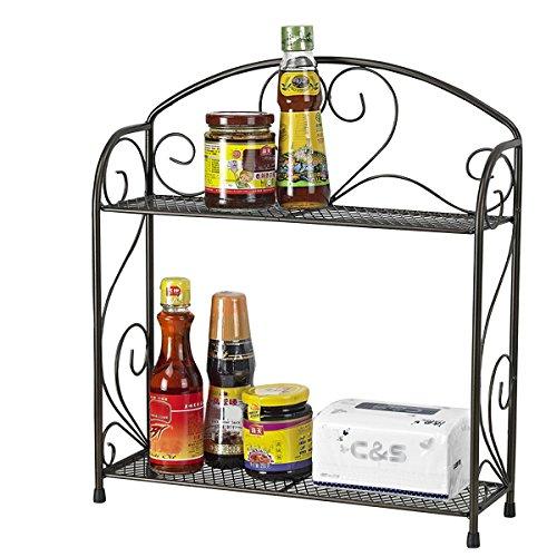 VANRA Spice Rack Kitchen Countertop Spice Stand Holder Jars Storage Organizer Shelf Rack Black 2 Tier