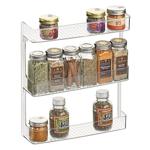mDesign Wall Mount Kitchen Spice Organizer Rack for Herbs Salt Pepper Cinnamon Ginger Garlic - 3-Tier Clear