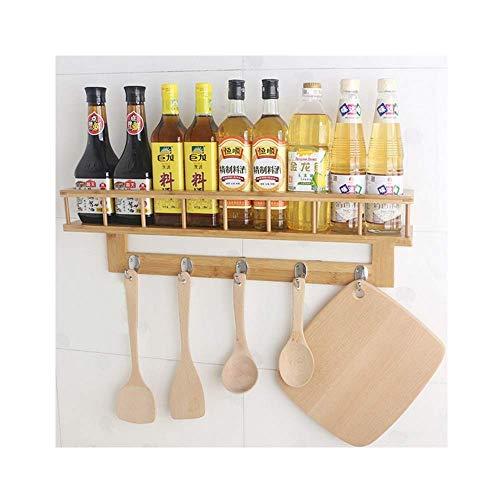 Hanging Spice Rack Natural Bamboo Wood Kitchen Storage Rack Silverware Organizer Size C