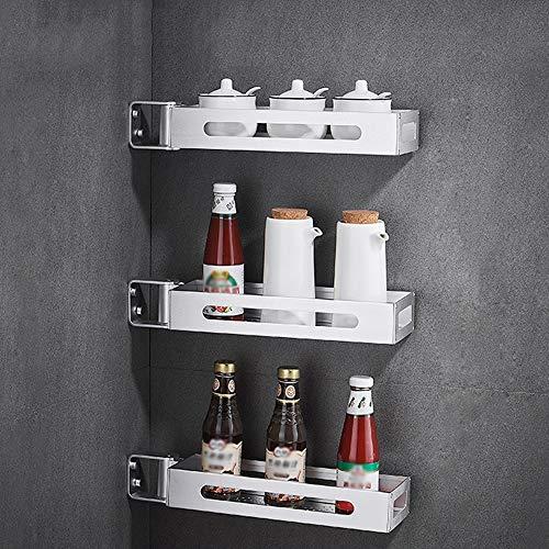 YANGMAN Kitchen RackSpace Aluminum Can Rotate 180° Hanging Spice Rack Corner Frame for BathroomRestaurantBarCounterBathroom ect - Wall Mounted Organizer Shelf3pcs