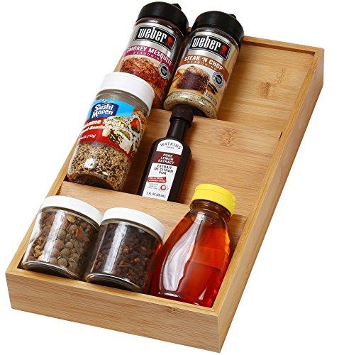 YBM HOME KITCHEN In-Drawer Bamboo 3 Tier Spice Rack Drawer Tray - Spice Storage  Organization 316