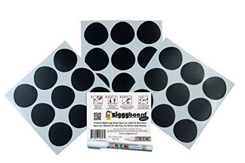 Ziggyboard Chalkboard Blackboard 27 Stickers Assorted Small Spice Jar Labels fit Ikea 3-34 Ounce Spice Jars with Fine Tip White Chalk Marker by Ziggyboard