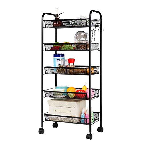 LANGRIA 5-Tier Kitchen Trolley Cart Utility Mesh Wire Shelves on Wheels Spice Rack Storage Rolling Cart Black