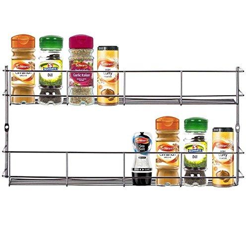 LEONYU 2-Tier Stainless Steel Wire Spice Jar Rack Holder Storage Organizer for Kitchen