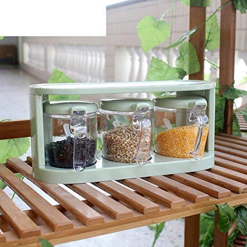 Green seasoning box three-piece suit creative plastic Spice jar set kitchen supplies sauce bottle the Spice box-A