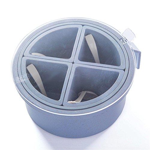 Yiliag Plastic Spice Jar Lids Pepper Seasoning Box Salt Storage Container Holder With Spoon-BlueFour Grid
