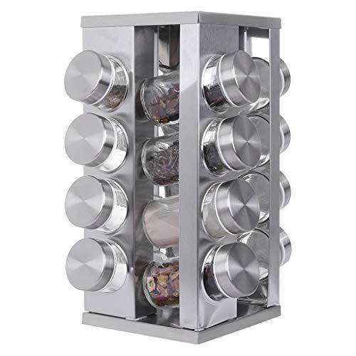 Lavany Countertop Spice Rack Tower Organizer Spice Rack 16-Jar Rotating CruetSquare Household Seasoning Set Stainless Steel Seasoning