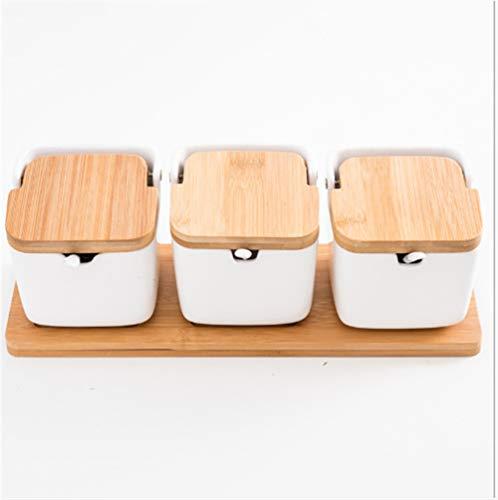 Mini Spice Jars Household ceramic seasoning jar set square flip seasoning box