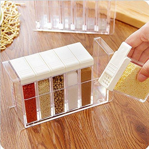 VANCORETM6 Pcs Set Shaker Seasoning Bottle Jar Condiment Storage Box for Salt Spice