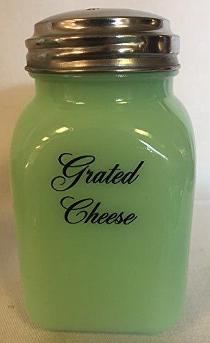 Jade Jadeite Jadite Milk Green Square Stove Top Spice Shaker Jar - Grated Cheese - Mosser Glass - USA