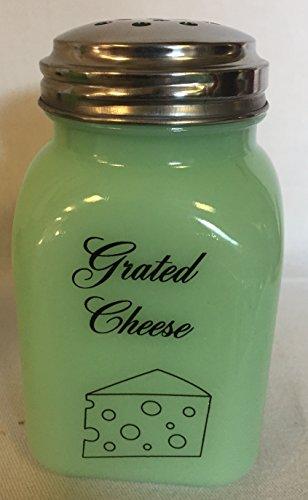 Jade Jadeite Jadite Milk Green Square Stove Top Spice Shaker Jar - Grated Cheese w Cheese Block - Mosser Glass - USA