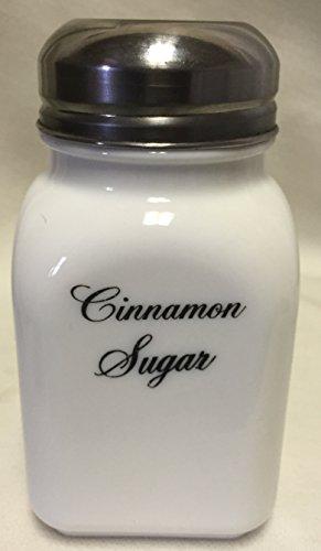 Square Stove Top Spice Shaker Jar - Mosser Rosso - USA - Milk Glass Cinnamon Sugar Script