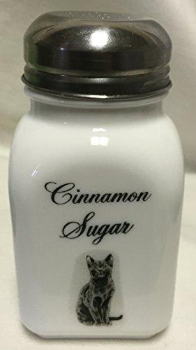 Square Stove Top Spice Shaker Jar w Black Cat - Mosser Rosso - USA - Milk Glass Cinnamon Sugar Script