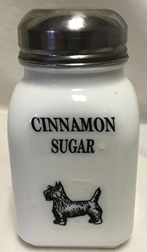 Square Stove Top Spice Shaker Jar w Scottie Scotty Dog - Mosser Rosso - USA - Milk Glass Cinnamon Sugar Block