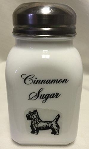 Square Stove Top Spice Shaker Jar w Scottie Scotty Dog - Mosser Rosso - USA - Milk Glass Cinnamon Sugar Script