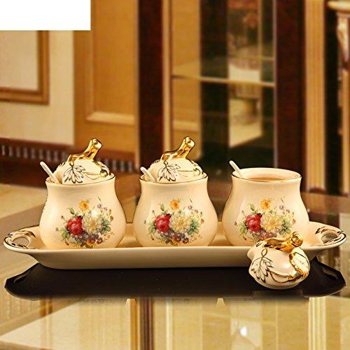 European ceramic Spice jar set kitchen supplies Spice canister Seasoning bottle three-set-A