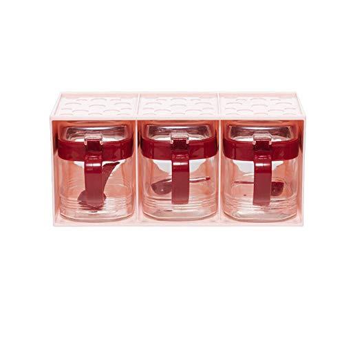 HEHUIHUI- Spice Container Seasoning Box Set Spice Canister Condiment Jar Food Storage Container Spice Jar Kitchen Cruet With Lid Spoon Kitchen Utensils