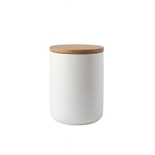 One-Pine 800ml27 oz Air Tight Jars Ceramic Food Storage Jar Set with Airtight Seal Bamboo Lid - TeaSugarCoffeeSpice Canister Set White