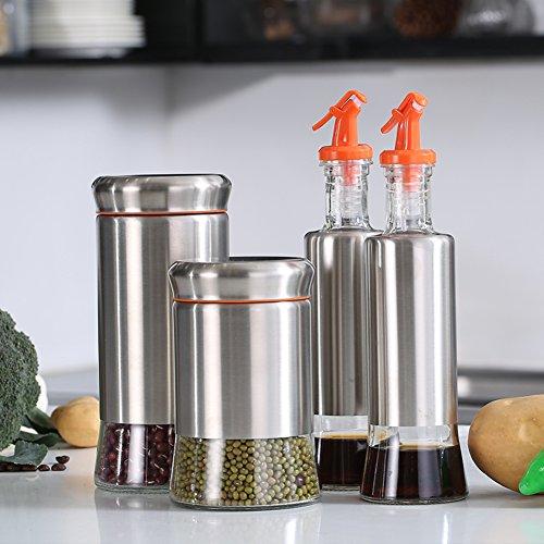 leak-proof bottle soy sauce vinegar set Glass bottles in the kitchen Spice jar set of four Spice canister kitchen supplies-C