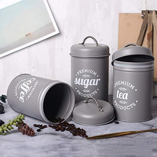 32gagwwc 3PcsSet Tea Coffee Sugar Food Storage Canister Kitchen Spice Jar Sugar Bowl with Lid Iron Storage Tank - Gray