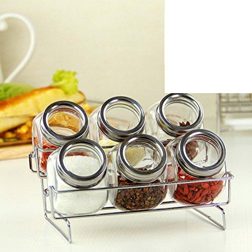 Lead-free glass spice jars Kitchen Spice jar set Kitchen storage racks European creative spice box double tilt cruet-E