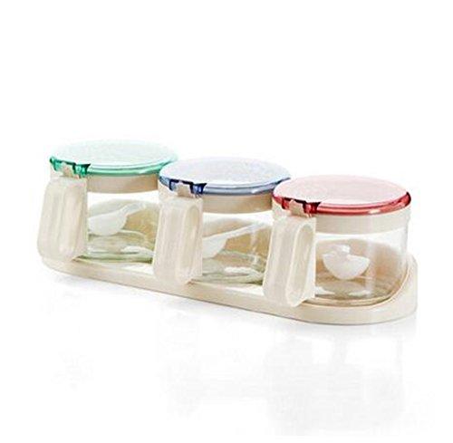 Glass Spice Bottle Spice Jar Kitchen Supplies Seasoning Box Glass Spice Jar Sugar Jar Kitchen Storage Bottle 3 pcs