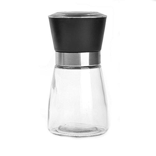 Igoolee High Grips Glass Salt or Pepper Grinder Seasoning Bottle Black