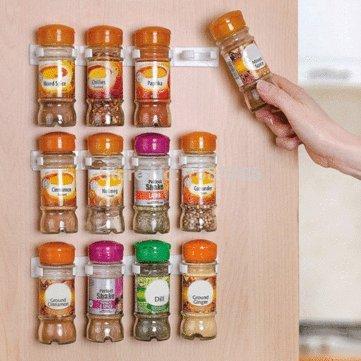 Spice Rack - 4Pcs Spice Rack Kitchen Cabinet Door Plastic Wall Seasoning Bottle Storage Organizer by DOM - Spice Rack