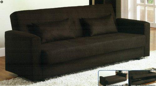 Jansen Contemporary Style Espresso Finish Microfiber Futon Sofa Bed With Hidden Storage