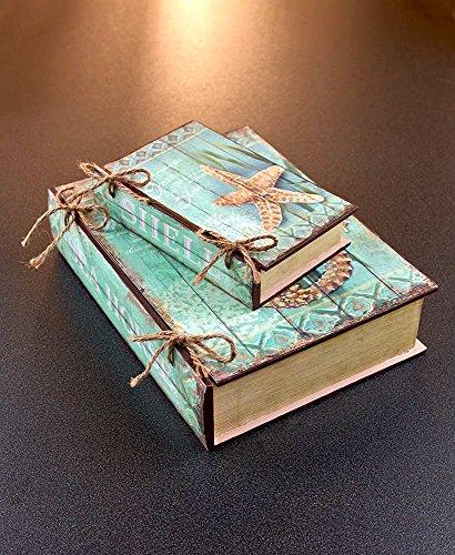 Set of 2 Box Decoration Wooden Secret Hidden Storage Organizer Book Box Set Seaside