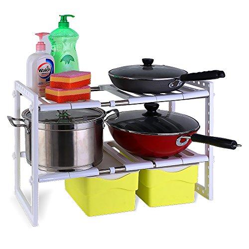 1208S 2-Tier Adjustable Under Sink Shelf Storage Kitchen Cabinet Organizer Free Expansion