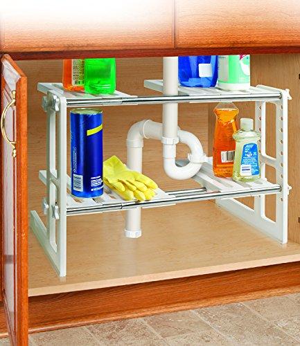 2 Tier Adjustable Under Sink Storage Shelves - 175 to 295
