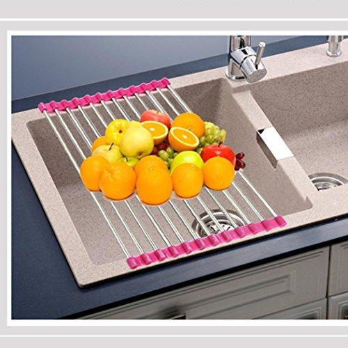 BinmerTM Kitchen Sink Storage Dish Drying Rack Holder Fruit Vegetable Drainer Colanders Hot Pink