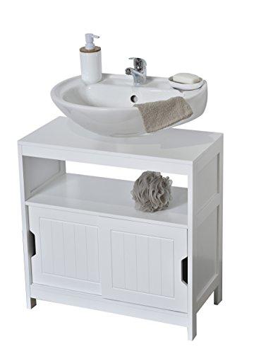 Evideco Non Pedestal Under Sink Storage Vanity Cabinet Cap Ferret Wood White