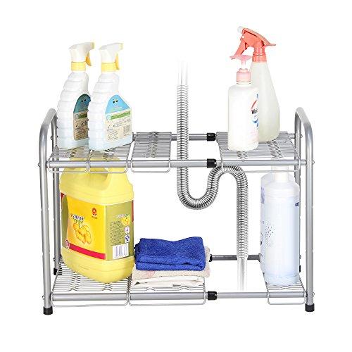 NEX 2-Tier Under Sink Shelf Organizer Under Sink Storage Rack Flexible Expandable