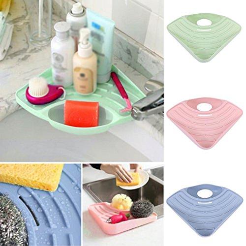 Storage Rack27×19×55CM Tuscom Bathroom Kitchen Sink Corner Storage Soap Tool Rack Sponge Holder Suction Cup Sky Blue