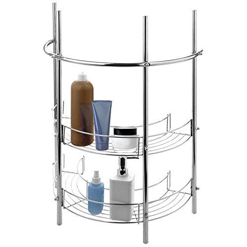 Under-the-Sink Bathroom Pedestal Storage Rack with 2 Shelves Hand Towel Bar Chrome Plated