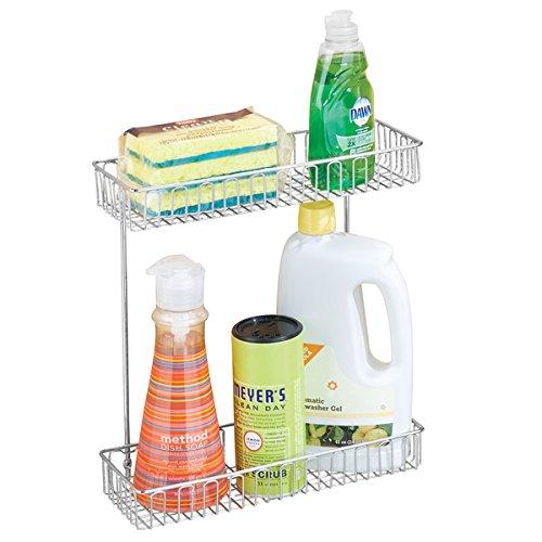 mDesign Under-Sink Storage Organizer Shelf for Dish Soap Sponges Brushes - WallCabinet Mount 2-Tier Chrome