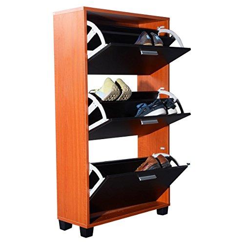 COSTWAY Wooden Shoe Organizer 3 Drawers Cabinet Storage Rack Shelf
