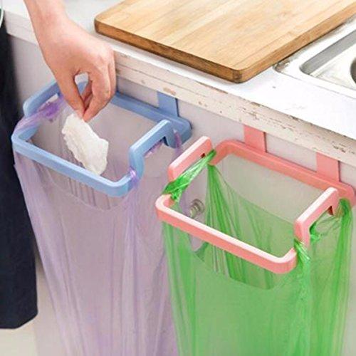 Kitchen Cabinet Hanging Rubbish Bag Holder Garbage Storage Rack Cupboard Hanger pink color