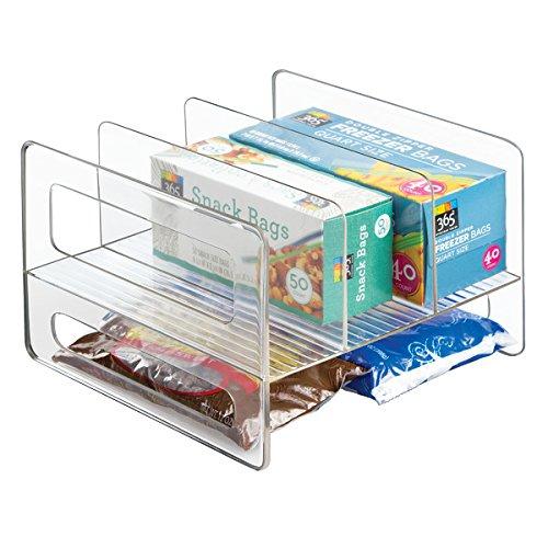 mDesign Kitchen Cabinet Storage Organizer Flip Rack for Aluminum Foil Canned Goods - Clear