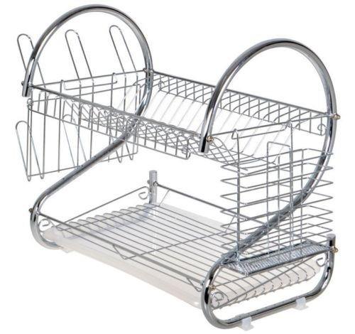 Kitchen Storage 2 Tier Chrome Drying Drainer Metal Dish Mug Rack MultifunctionalNew by WW shop