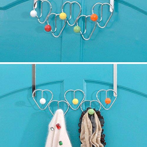 CynKen 5 Hooks Chrome Multi Color Balls Over Door Hat Coat Storage Clothes Hanger Bathroom Towel Rack