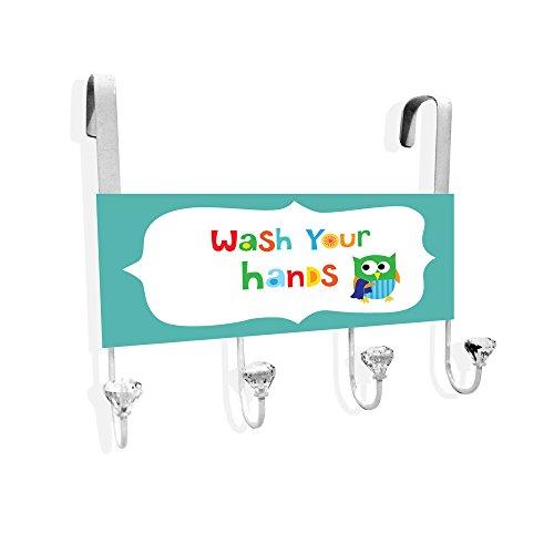 Wash Your Hands Turquoise Over The Door Towel Hanger