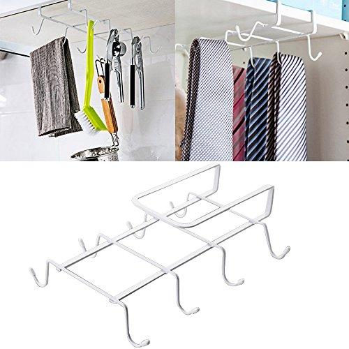 Kangkang Multifunctional Wardrobe Bathroom Cupboard Kitchen Hanger Hook Storage Shelves with 8 Hooks White